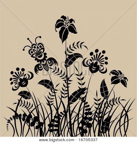 cartão da arte floral