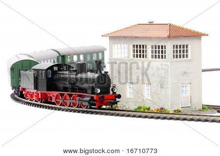 Old Steam Loco Model With Passenger Cars