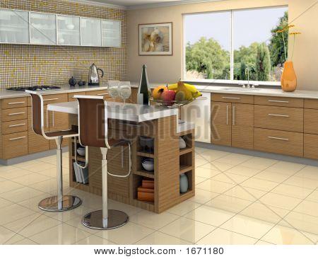Holz und Edelstahl Küche