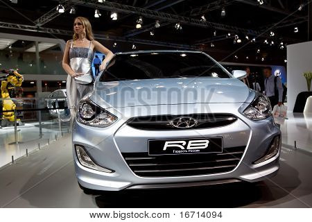 Moscow, Russia - August 25:  Blue Grey Car Hyundai Solaris Rb At Moscow International Exhibition Int