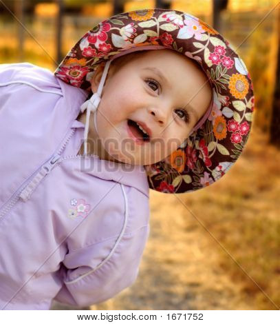 Infant Girl Goofing Around