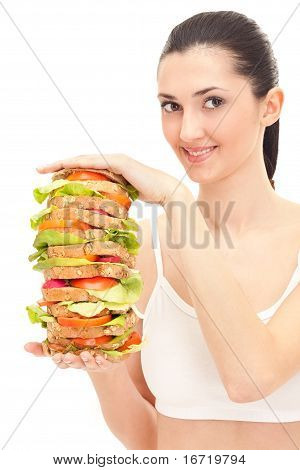 Woman Holding Big Sandwich