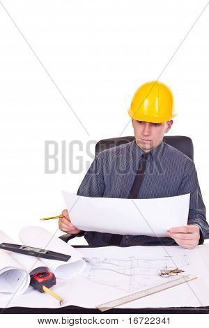 Architect With  Helmet In Office