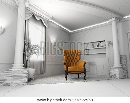 Sillón de cuero marrón en el interior en blanco