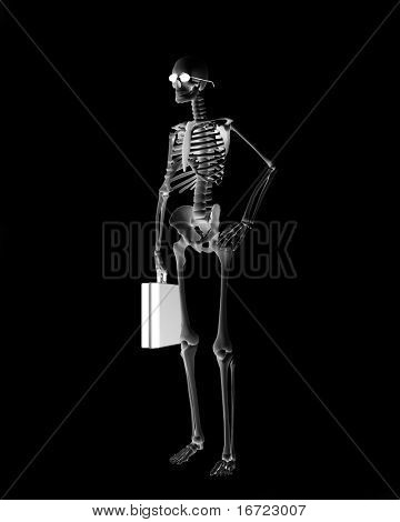 skeletont businessman over the black background (3d)