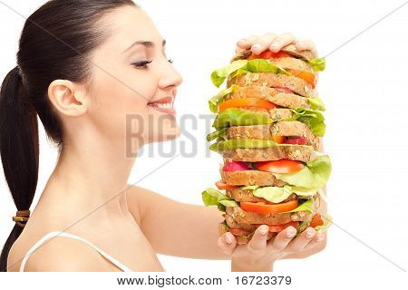 Woman With Huge Healthy Sandwich