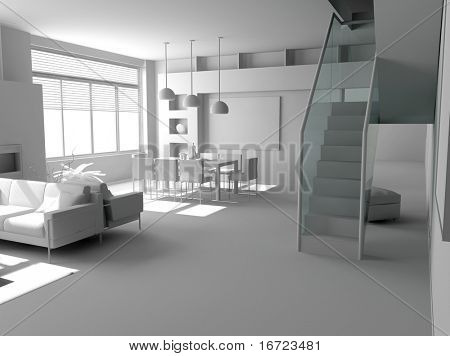 blank modern interior design (private apartment 3d rendering)