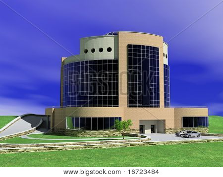 exterior of moder luxury hotel building (3D rendering)