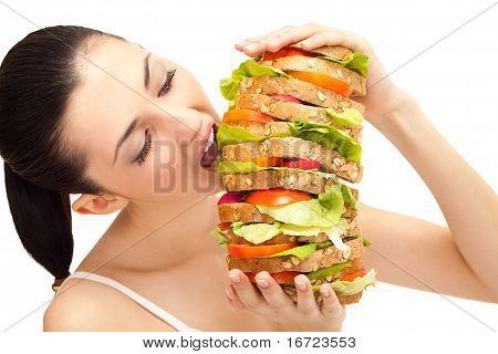 Girl Eating Sandwich, Big Bite