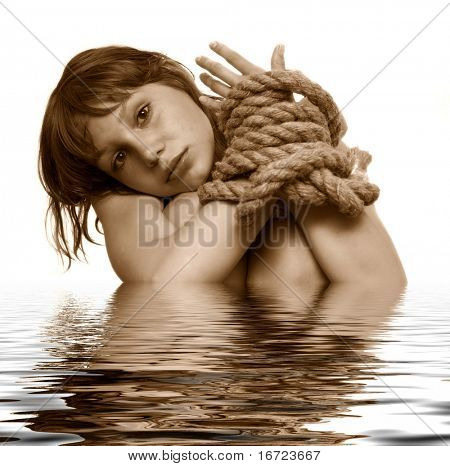 beauty girl with connected hands by string, flooding the white