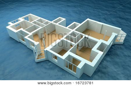 the modern flat sketch in sea (3d rendering)