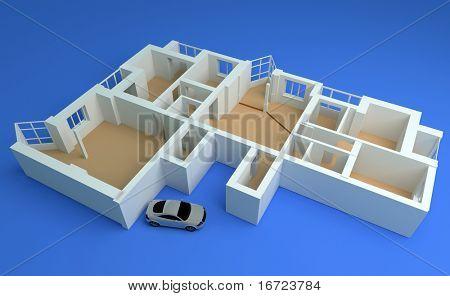 the modern flat sketch 3d rendering