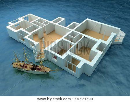 the modern flat sketch in sea (3d rendering)