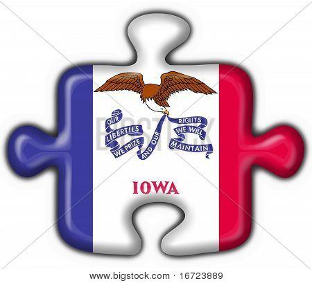 Iowa (usa State) Button Flag Puzzle Shape