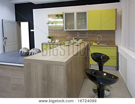 the modern kitchen interior close-up detail  photo