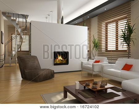 modern private interior (3D rendering)