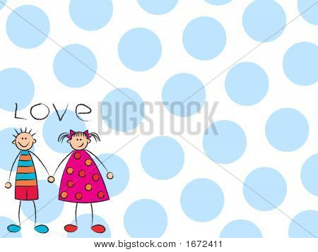 Boy + Girl = Love With Blue Background