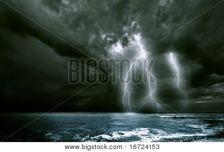 the amazing lighting storm landscape