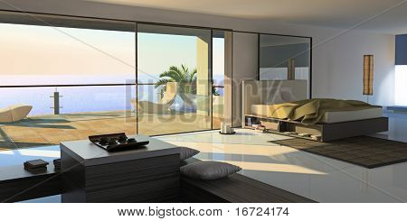 modern open interior (3D rendering)