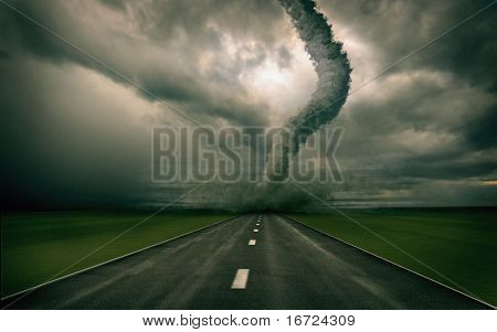 large tornado over the road (3D rendring)