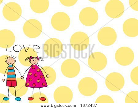 Boy + Girl = Love In Yellow Background