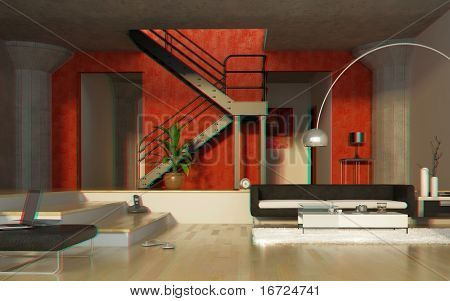 modern interior in stereo anaglyph effect (to view -need  stereo glasses)