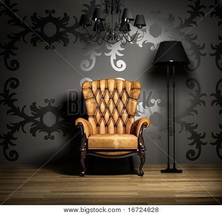 escena interior con lámpara y sillón clásico.