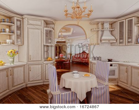 luxury kitchen interior in classic style (3D rendering)