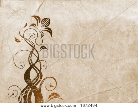 Floral Ornament Over Old Paper Background