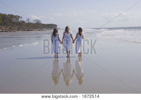 Three Girls Walking With Full Reflections