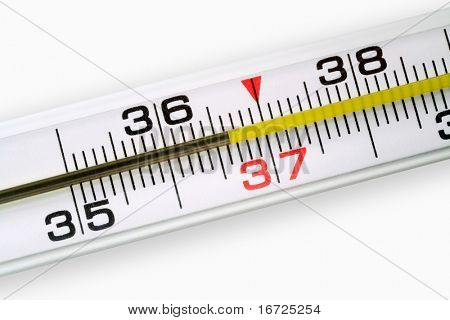 Mercurial thermometer (36,6) on a white background (over white).