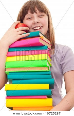 Girl With Book Stack And Apple