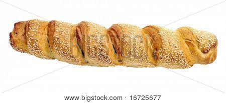 Long loaf on the white background (isolated).