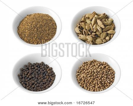 Dry spices set (isolated).