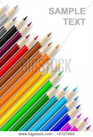Lápices de color sobre fondo blanco (composición diagonal).