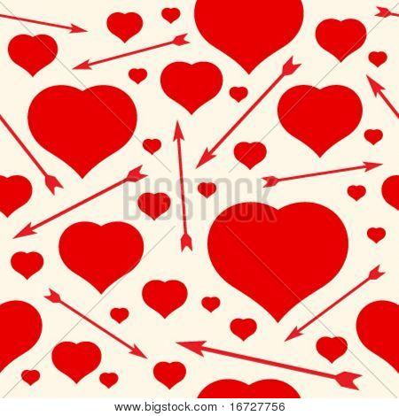 Corações e flechas sem costura de fundo.  (Ver mais fundos sem costura na minha carteira).