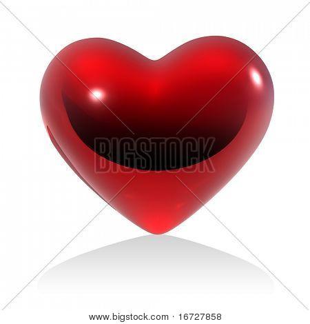 Coração vermelho sobre fundo branco (isolado).  Ver mais esse tema no meu portfolio.