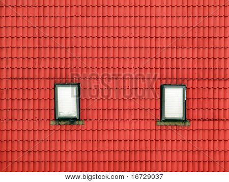 Red roof background with windows.