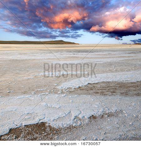 White salt surface on brine lake.