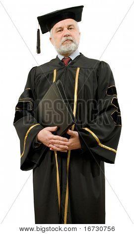 Professor in schwarzen Kleid auf weißem Hintergrund (isoliert).