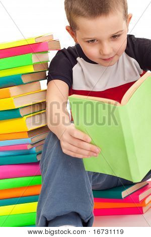 Five Year Old Boy Sitting Books