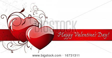 Happy Valentine's day card with two hearts.