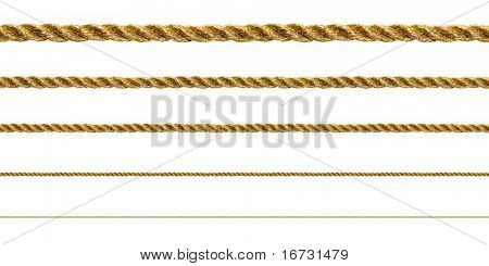 Seamless golden rope on white background (isolated).
