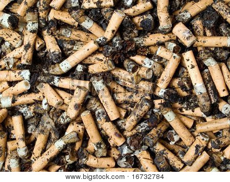 Cigarettes end closeup background.
