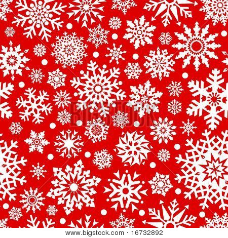 White snowflakes on red background seamless pattern for continuous replicate.