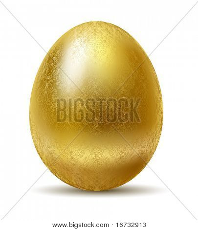 Golden egg isolated isolated on white background.