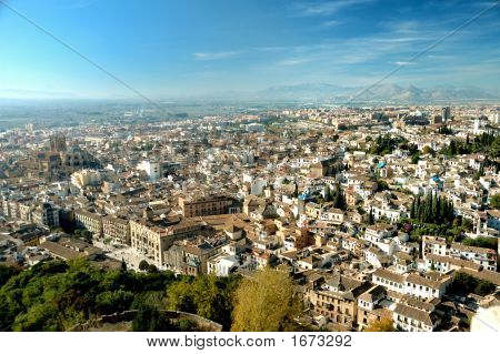 Stunning View At Old City Of Granada And Mountains