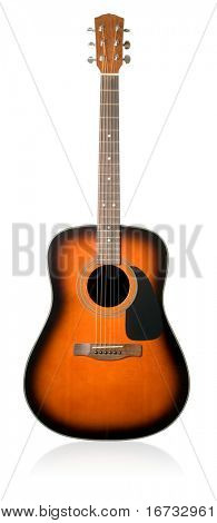 Acoustic guitar on white background (isolated with path).