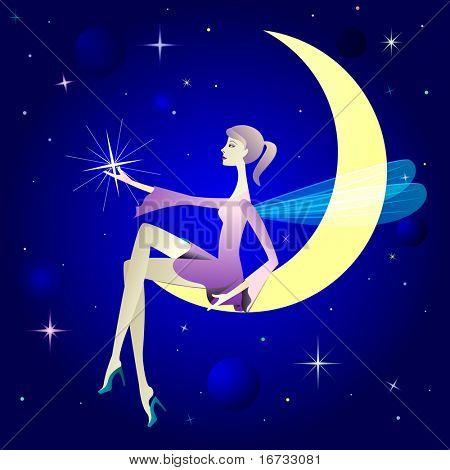 作为带翅膀的精灵坐在月亮上的漂亮女孩