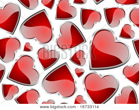 Hearts seamless pattern - vector background for continuous replicate.
